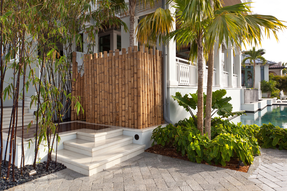 Bamboo Shower Curtain Pool Tropical with Balcony Bamboo Partition Bcb Homes Green Home Leed Certified Metal Roof Naples