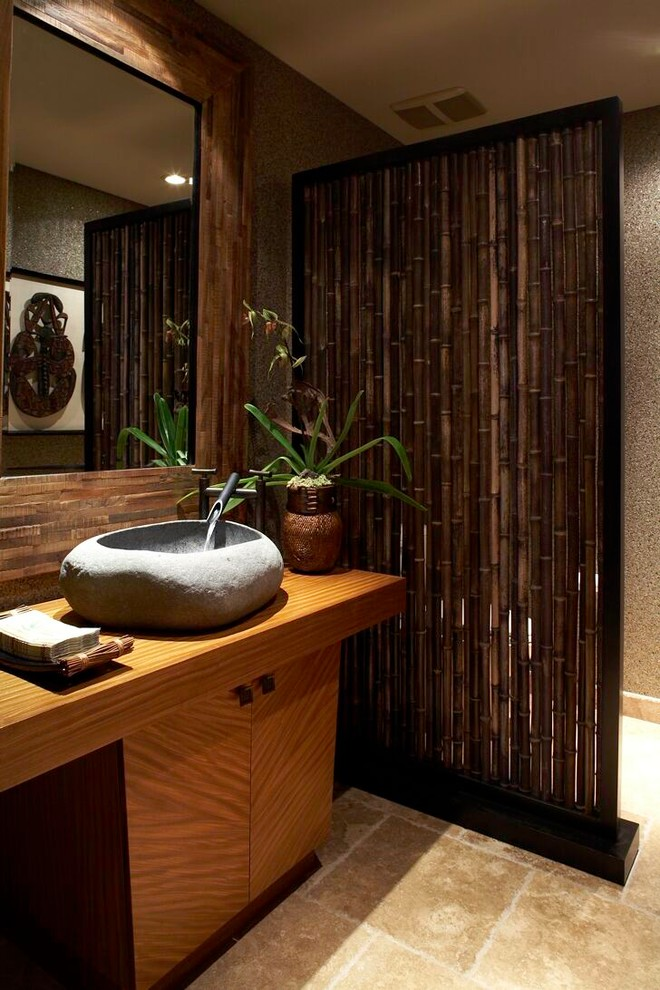 bamboo shower curtain Powder Room Tropical with CategoryPowder RoomStyleTropicalLocationHawaii