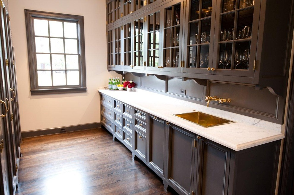 Bar Sink Faucet Kitchen Traditional with Baseboards Butlers Pantry Dark Floor Dark Wood Cabinets Divided Lights Footed Cabinets