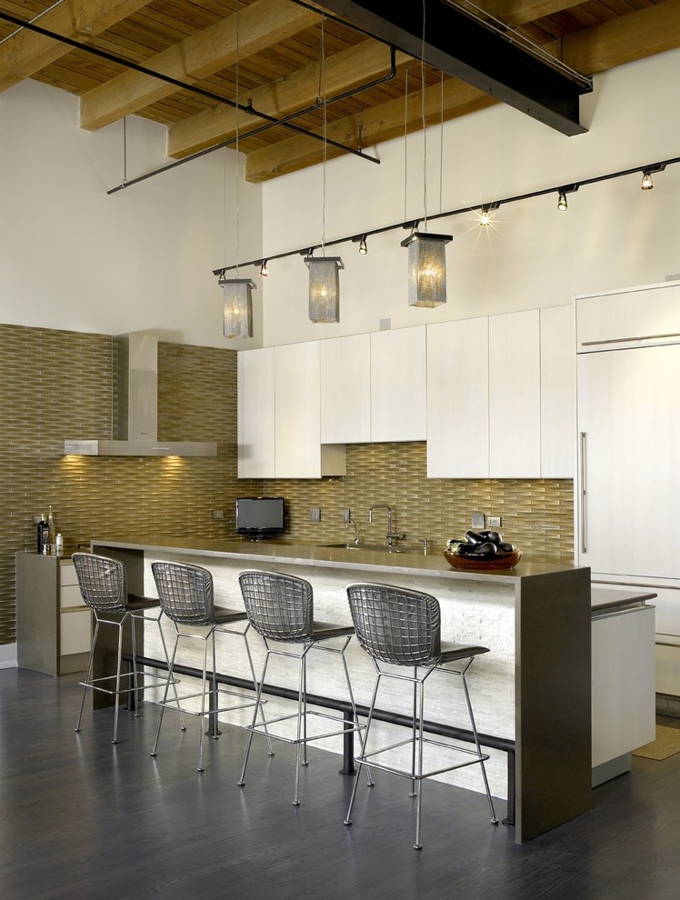 bar stool height Kitchen Industrial with cabinet front refrigerator ceiling lighting dark floor eat in kitchen exposed beams