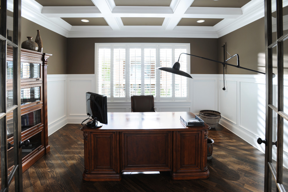 Barrister Bookcase Home Office Traditional with Barrister Bookcase Boom Sconce Coffered Coffered Ceiling Desk Hardwood Hardwoods Judges Panelling