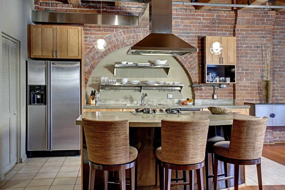 barstools Kitchen Eclectic with barstool brick brick wall kitchen island loft modern kitchen oven hood Seattle