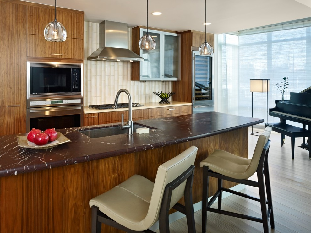Barstools Com Kitchen Contemporary with Accent Tile Barstool Blinds Brawn Counter Breakfast Bar Brown and White Counter