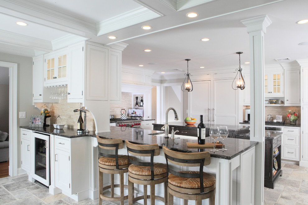 Barstools Com Kitchen Transitional with Apron Front Sink Bar Beaded Inset Cabinet Lighting Coffer Ceiling Coffered Ceiling