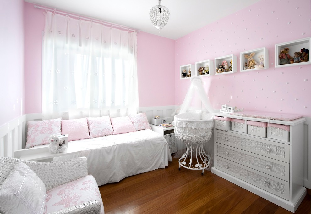 Bassinet Mattress Nursery Traditional with Baby Bassinet Chest of Drawers Daybed Dresser Girls Room Kids Mosquito Net