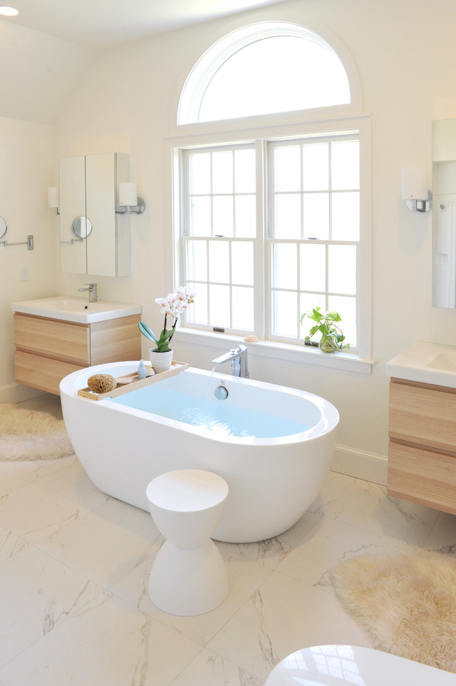 Bath Tub Caddy Bathroom Contemporary with Arched Transom Window Double Vanities Floor Mounted Bath Tub Filler Large White