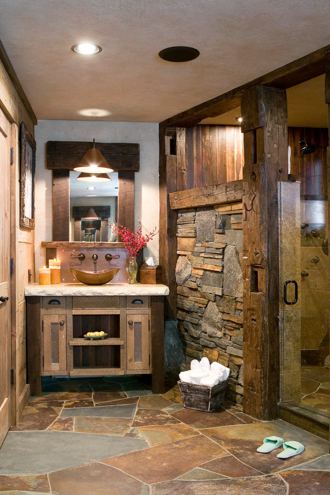 bathroom ensembles Bathroom Rustic with beige countertop recessed lighting rustic wood column stone wall wall mounted faucet