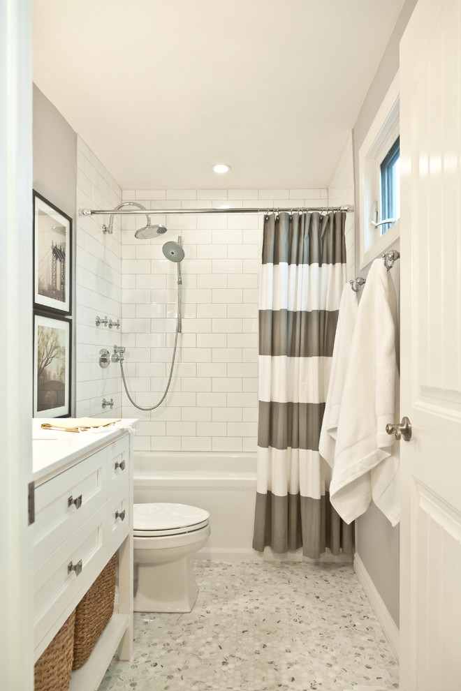Bathroom Ensembles Bathroom Traditional with Basket Storage Gray Gray and White Striped Shower Curtain Marble Quartz Shower