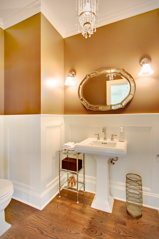 bathroom etagere Bathroom Traditional with chandelier crown molding tagre formal glass table ornate mirror pedastal sink sconce