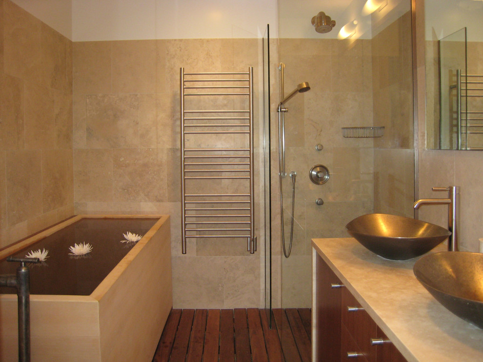 Bathroom Heat Lamp Bathroom Modern with Bathroom Bathroom Mirror Bowl Sink Deck Deep Tub Double Sinks Double Vanity