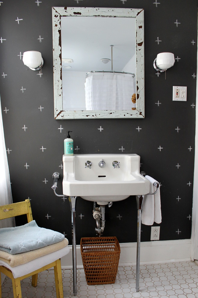 bathroom light fixture Bathroom Eclectic with baseboard black walls chalk wallpaper Chalk Walls chalkboard paint framed mirror kids