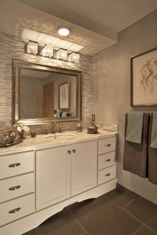 Bathroom Light Fixture Bathroom Traditional with Bath Accessories Bathroom Lighting Bathroom Mirror Bathroom Tile Chic Crystal Dark Floor