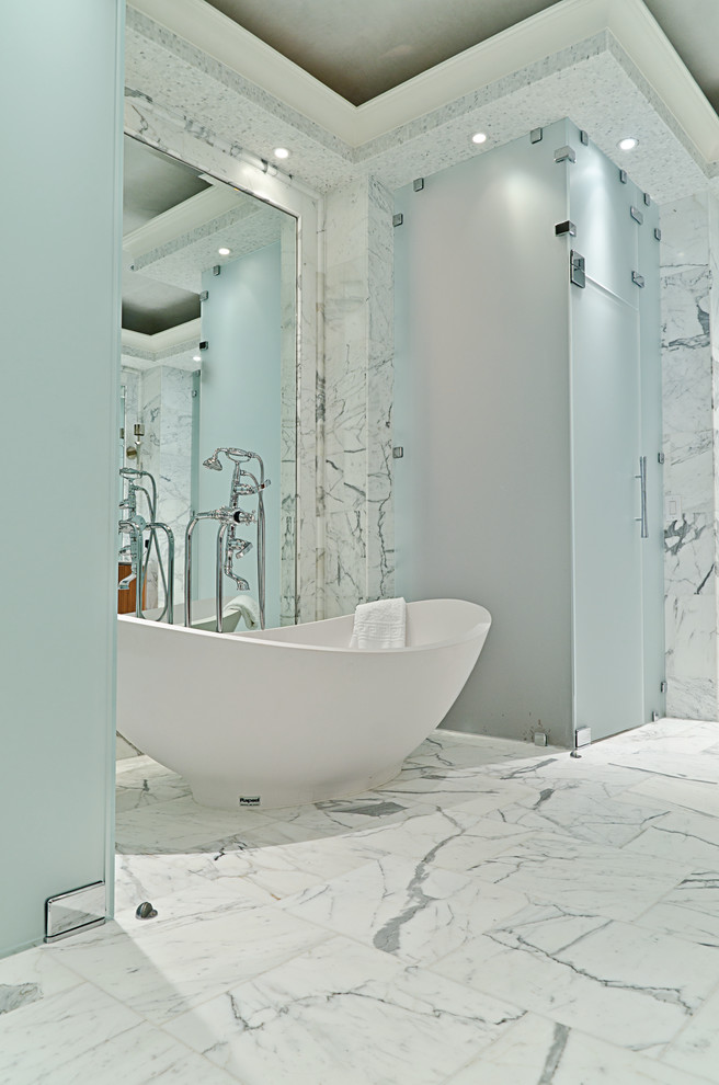 Bathtub Dimensions Bathroom Contemporary with Bathroom Tile Ceiling Lighting Freestanding Bathtub Frosted Glass Marble Marble Tile Recessed