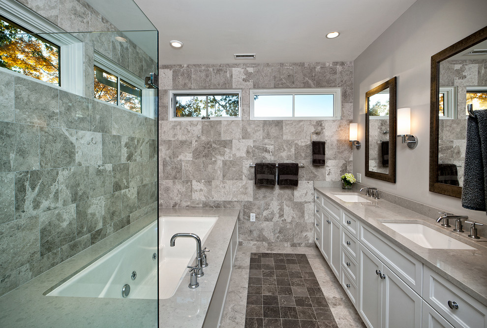 Bathtub Dimensions Bathroom Transitional with Built in Vanity Double Vanity Gray Bathroom Tile Gray Counter Masculine Color Scheme