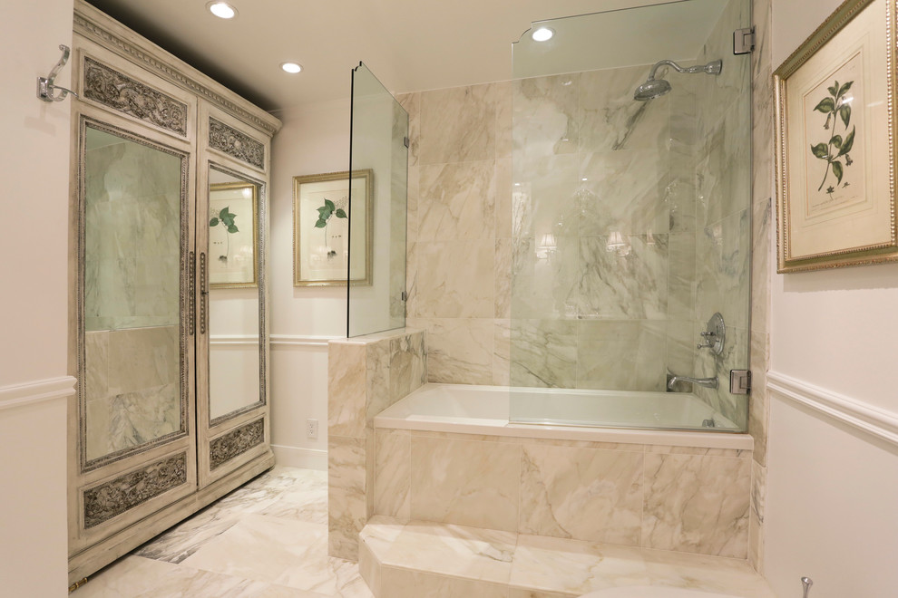 Bathtubs for Sale Bathroom Traditional with Bathtub Beige Carved Wood Chair Rail Gilded Frame Glass Shower Panel Marble