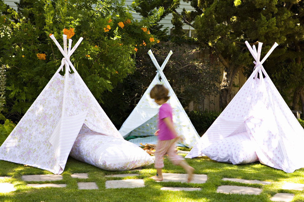 Beach Canopy Tent Landscape Eclectic with Floral Print Fabric Grass Kids Lawn Outdoor Pillows Path Pavers Teepee Tents