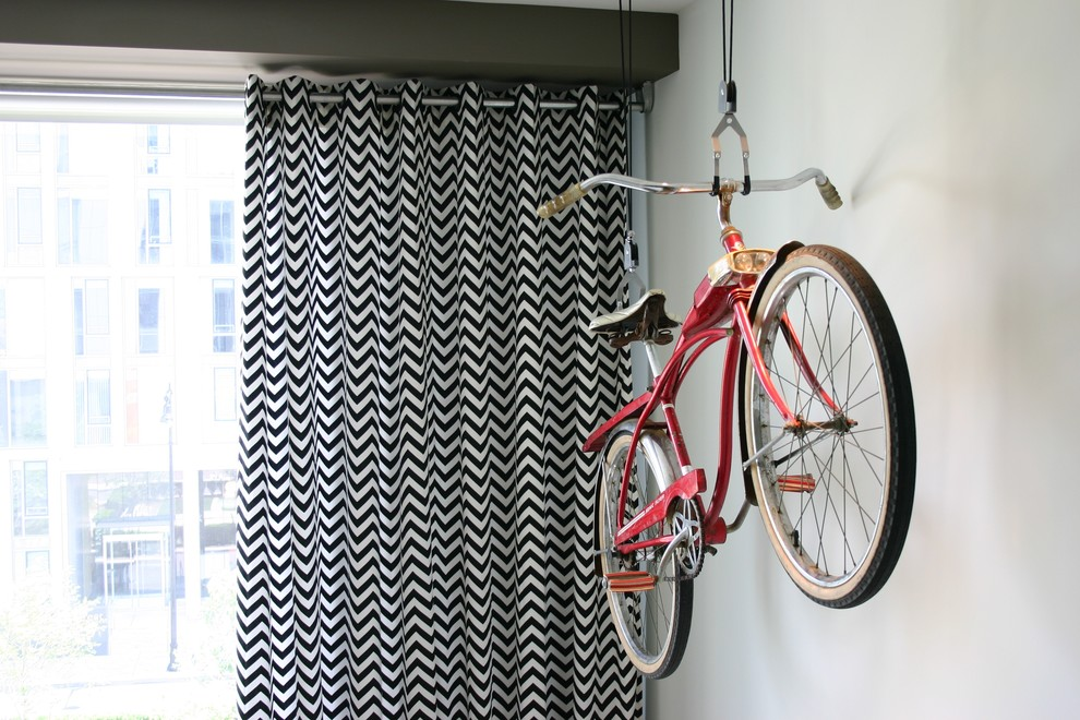 beach cruiser bikes Living Room Contemporary with bicycle bike curtains drapes printed curtains zig zag