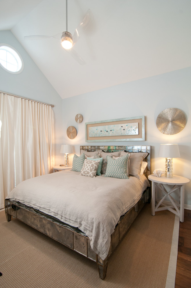 Beach Theme Bedding Bedroom Beach with Acrylic Fan Cathedral Ceiling Ceiling Fans Glass Art Mirrored Bed Natural Rug