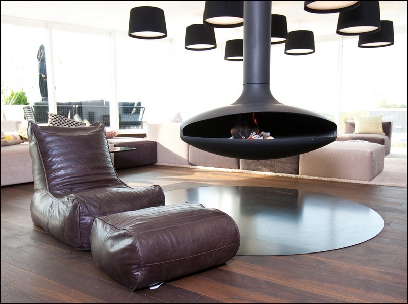 Bean Bag Chair Living Room Contemporary with Hanging Fireplace