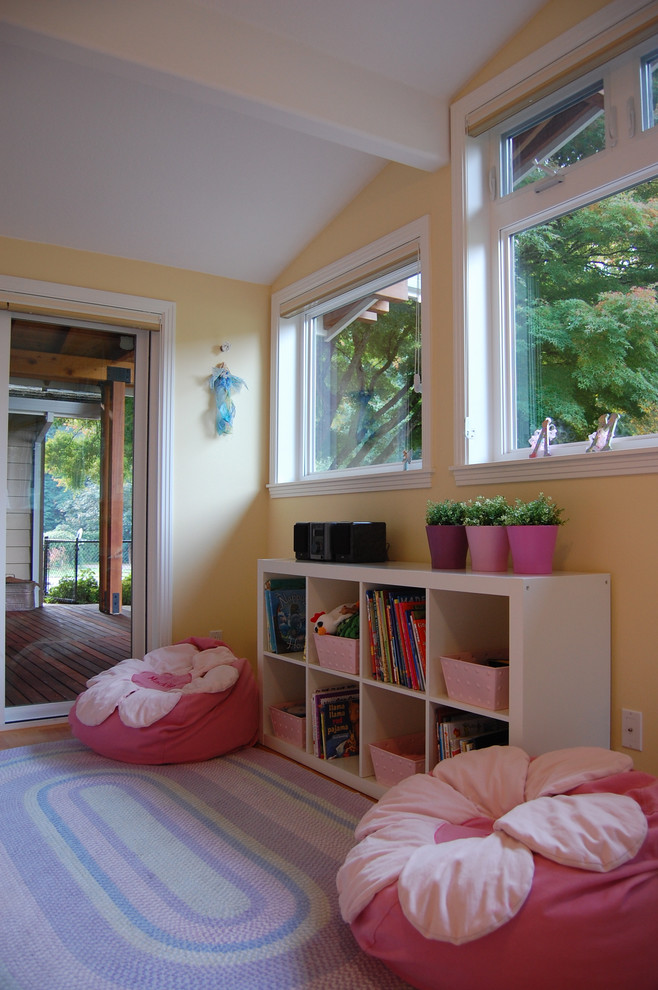 Bean Bag Lounger Kids Traditional with Bean Bag Chair Bedroom Bookcase Container Plants Cubbies Glass Doors Pink And1