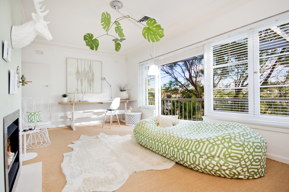 bean bag sofa Living Room Contemporary with balcony beige carpet bright white green and white geometric bean bag sofa