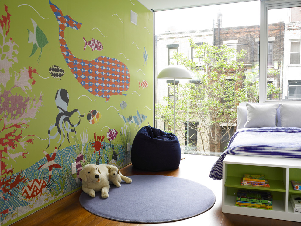 Beanbag Chair Kids Contemporary with Accent Wall Bedroom Bookshelves Foot of the Bed Glass Wall Green Walls