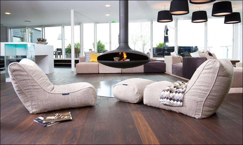 Beanbag Chair Living Room Contemporary with Hanging Fireplace