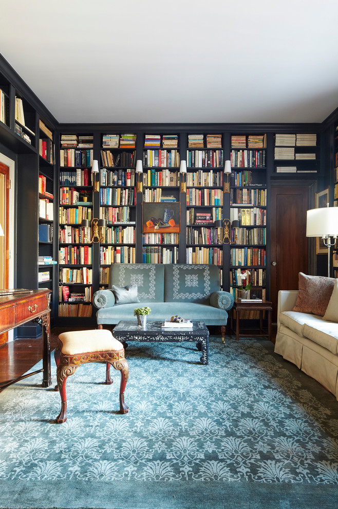 Beautyrest World Class Family Room Eclectic with Antique Furniture Built in Bookcase Built in Bookshelves Crown Molding Dark Trim Dark Walls