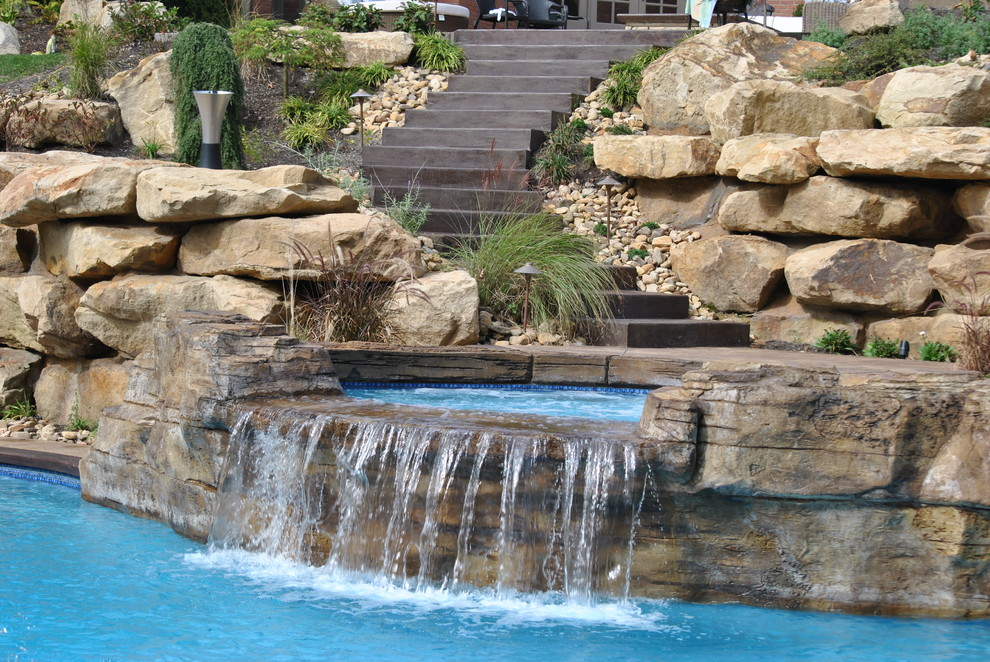 Beautyrest World Class Pool Traditional with Boulder Landscape Concrete Stairs Concrete Steps Faux Rock Hot Tub Outdoor Staircase