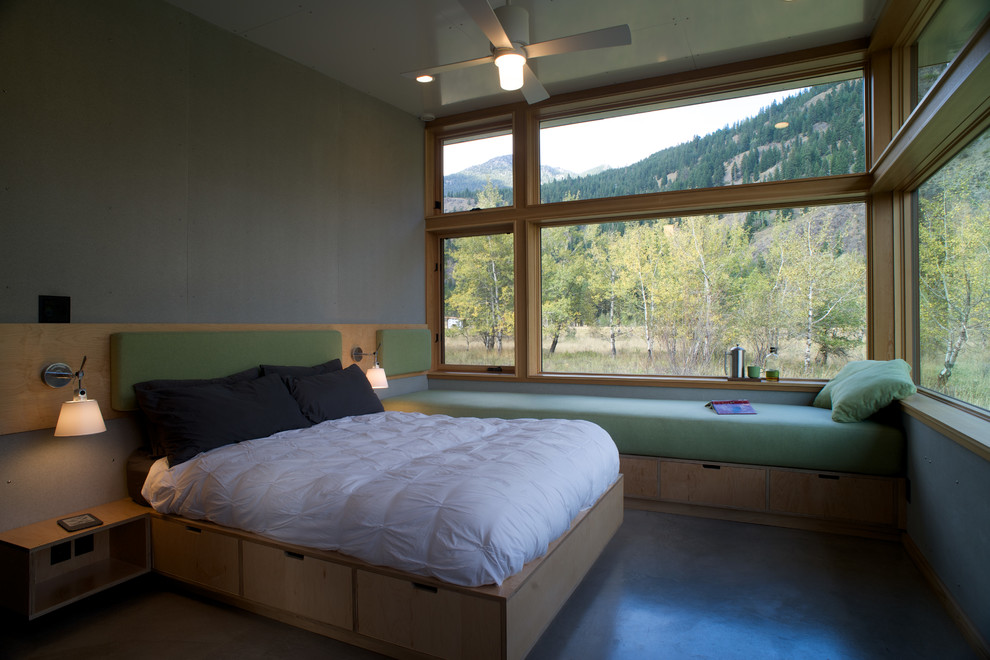 Bed Frames with Drawers Bedroom Contemporary with Cabin Cast Concrete Concrete Contemporary Contemporary Design Custom Cabinets Custom Made Low Slope