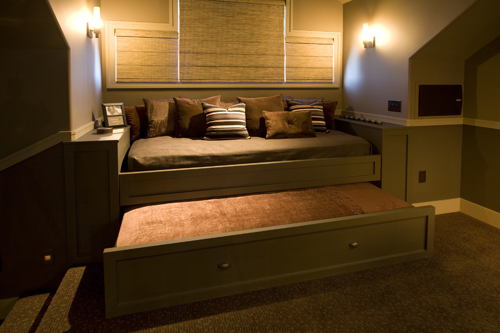 bed with trundle Home Theater Traditional with built-in Custom Cabinetry day bed millwork trundle bed