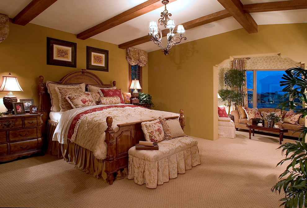 Bedroom Comforter Sets Bedroom Traditional with Exposed Wood Beams French Country Gold Walls Sitting Area Vaulted Ceilings