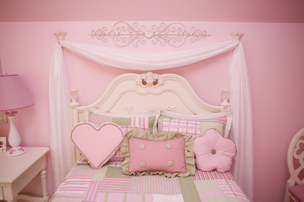 bedroom comforter sets Kids Traditional with antique metal crowns bows chiffon chiffon draping behind bed crowns crystals desk