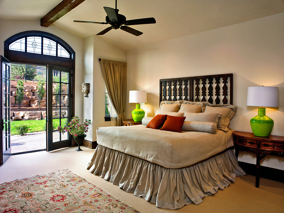 Bedskirt Bedroom Traditional with Arched Transom Window Carved Wooden Headboard Ceiling Fan Curtain Tie Back Demilune