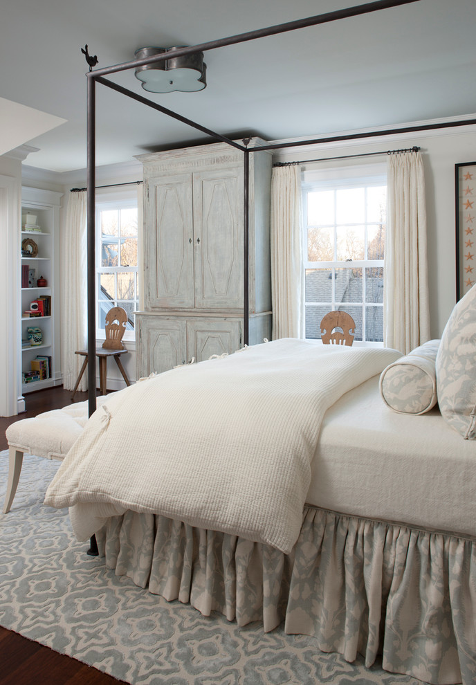 Bedskirt Bedroom Traditional with Area Rug Armoire Bed Skirt Blue Painted Ceiling Built in Shelves Canopy Bed