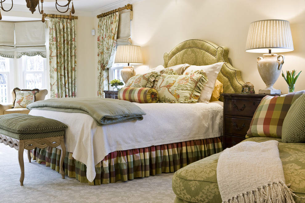 Bedskirt Bedroom Traditional with Arm Chair Bedskirt Bench Brown Ceramic Lamps Chandelier Cream Currey Co Damask