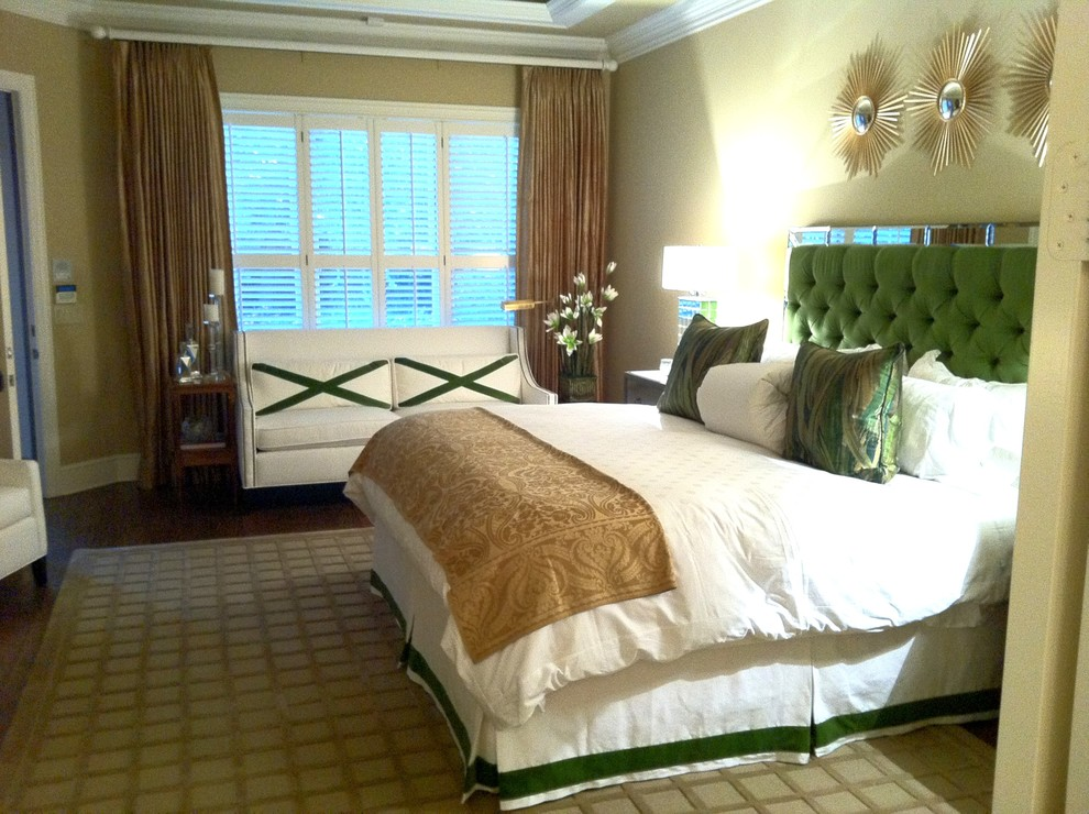 Bedskirts Bedroom Contemporary with Area Rug Bed Pillows Crown Molding Curtains Drapes Green Accents Green Headboard