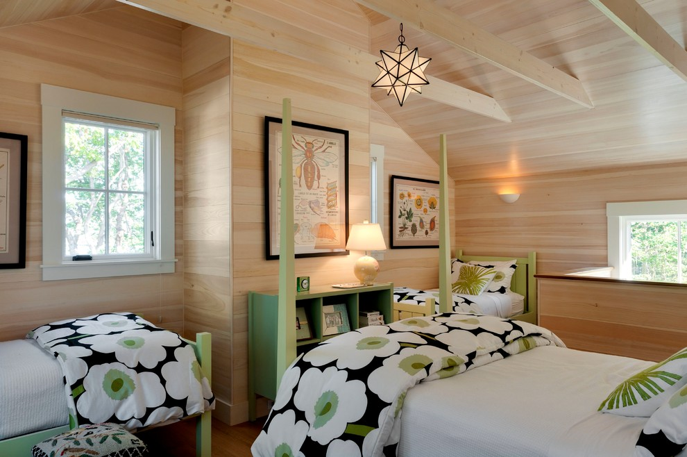 Bedspreads and Comforters Bedroom Beach with Bookshelf Bunk Room Camp Cottage Diagrams Exposed Beams Exposed Pine Green Accents