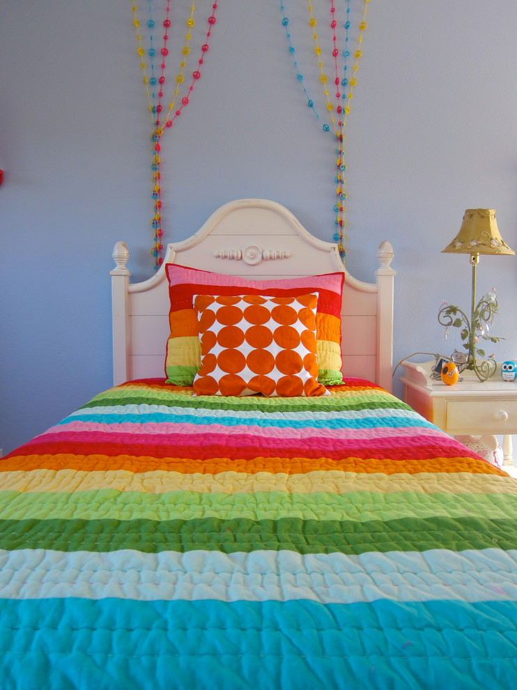 Bedspreads and Comforters Kids Contemporary with Beaded Strings Bedroom Colorful Cottage Dots Girl Kids Light Blue Walls Nightstand