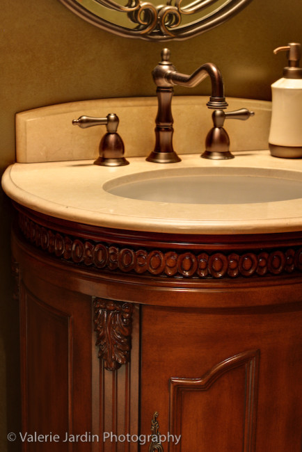 Belle Foret Spaces Traditional with Bombe Chest Marble Sink Oil Rubbed Bronze Traditional Design Traditional Faucet