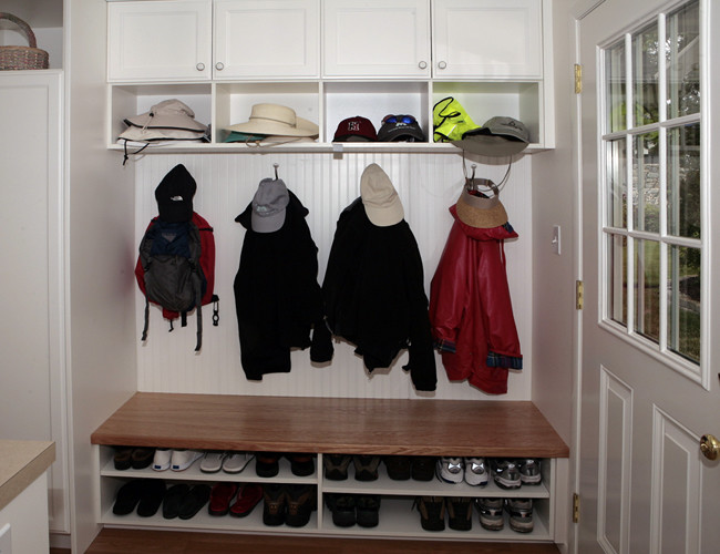 Bench with Shoe Storage Entry Traditional with Cabinetry Entry Hanging Storage Mudroom Open Shelves Storage