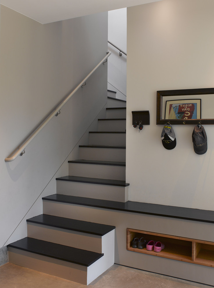 bench with shoe storage Staircase Contemporary with built in staircase built in storage hall tree key hook mudroom storage