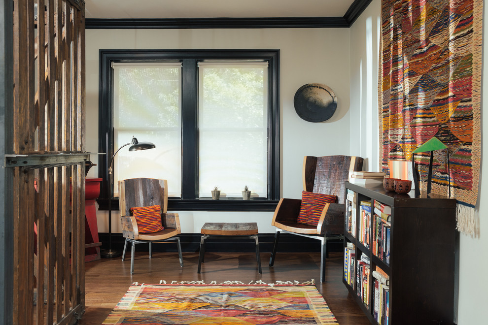 Berber Rug Hall Industrial with Black Bookcase Black Crown Molding Black Trim Dark Wood Floor Small Bookcase