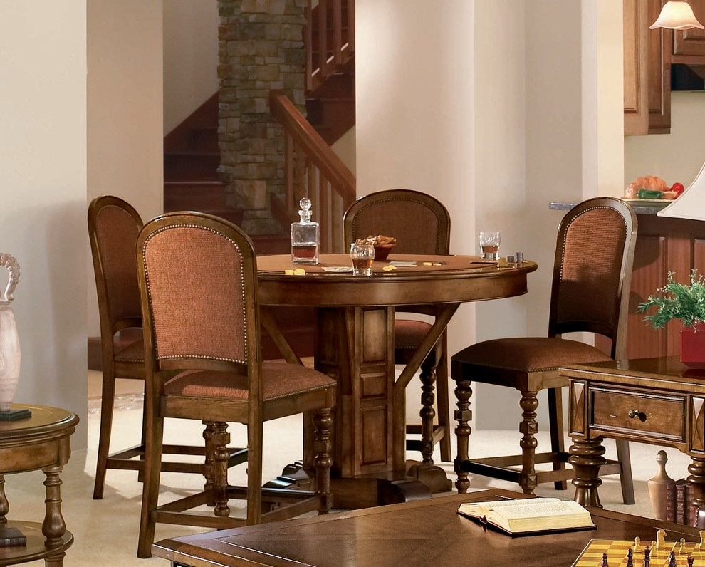 Bernhardt Furniture Dining Room Traditional with Bernhardt Furniture Poker Table Rec Room Wood Dining Chairs Wood Round Table
