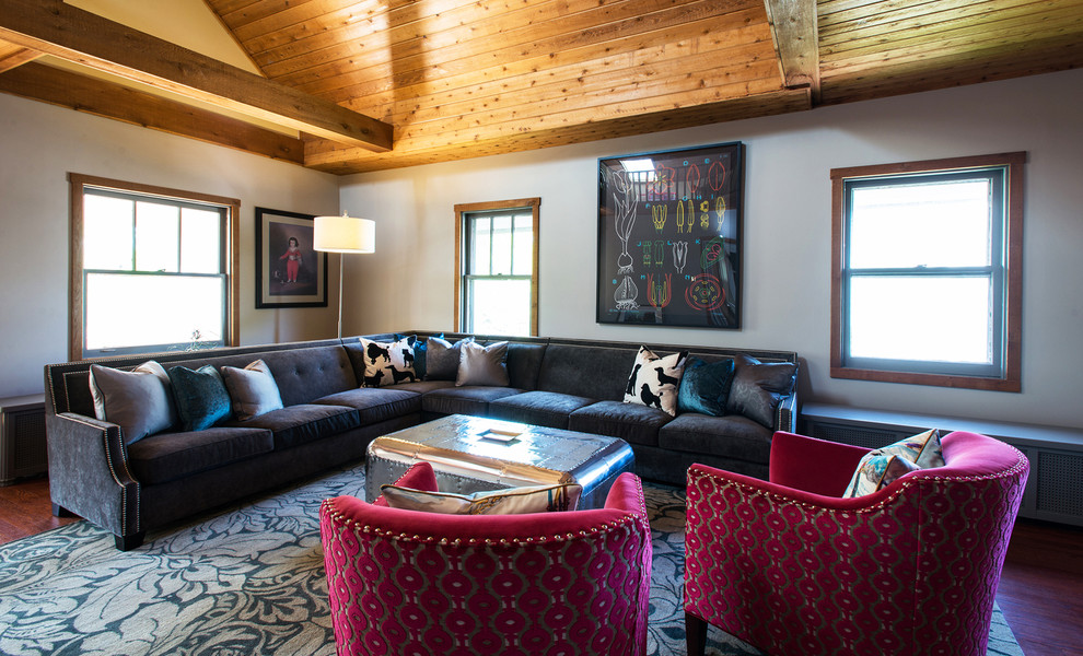 Bernhardt Sofas Living Room Eclectic with Decorative Pillows Exposed Beams Fuchsia Armchairs Gray Couch Metal Coffee Table Sectional