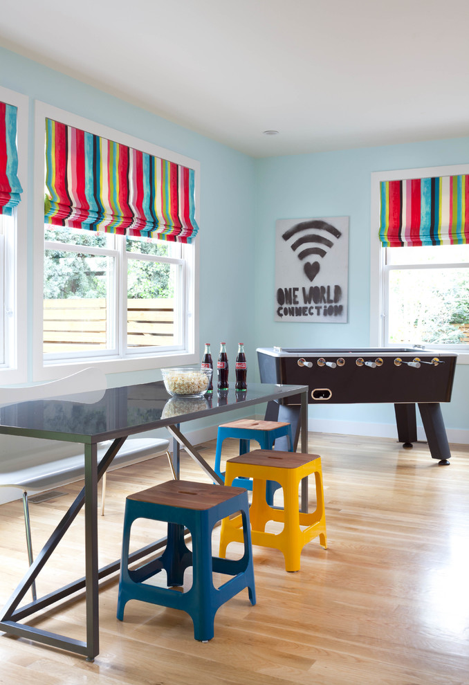 Best Foosball Table Family Room Contemporary with Blue Stool Colorful Foosball Gray Table Stools Striped Roman Shades Wall Art