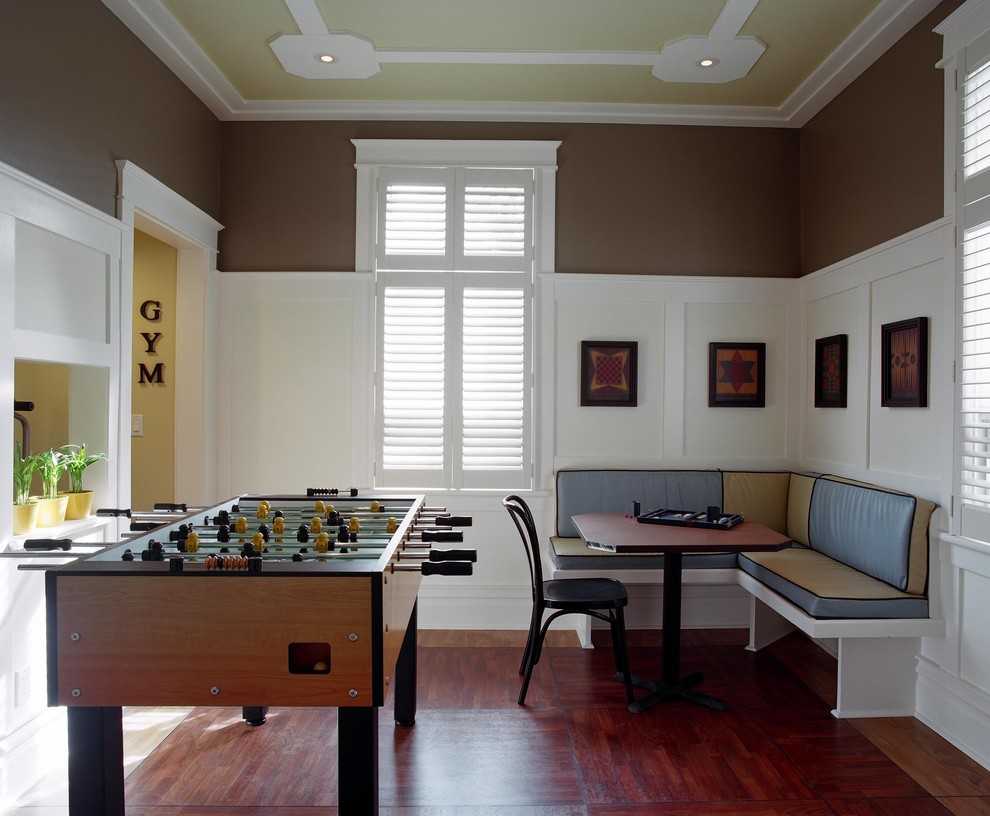 Best Foosball Table Family Room Traditional with Brown Paint Brown Wall Built in Bench Chair Corner Seating Crown Molding Kitchen