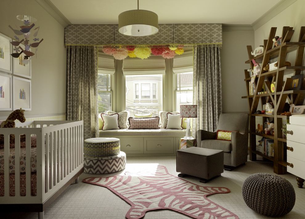 Best Nursery Glider Nursery Transitional with Bookcase Crib Curtains Drapes Drum Pendant Floor Cushions Glider Knitted Pouf Neutral