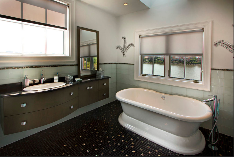 Bia Cordon Bleu Bathroom Contemporary with Artistic Tile Bathroom Black Black Mother of Pearl China Black Field Tile