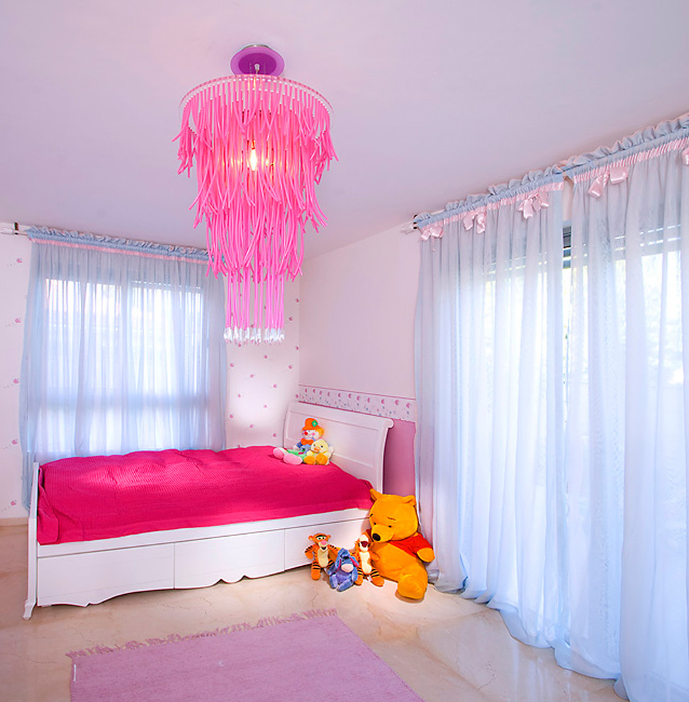 Bia Cordon Bleu Kids Contemporary with Area Rug Bedroom Chandelier Curtains Drapes Marble Flooring Modern Light Fixture Pink